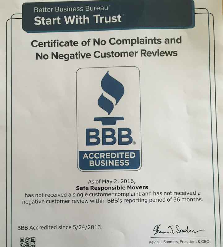 Movers Reviews - The BBB has certified that we've recieved no negative complaints or reviews in the past 3 years.