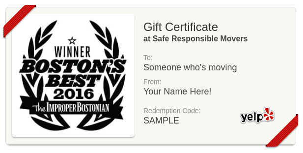 moving company gift certificate